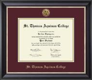 St. Thomas Aquinas College Diploma Frame - Gold Engraved Medallion Diploma Frame in Noir