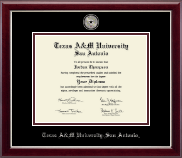 Texas A&M University at San Antonio Diploma Frame - Masterpiece Medallion Diploma Frame in Gallery Silver