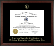 American Board for Certification in Orthotics, Prosthetics & Pedorthics Certificate Frame - Gold Embossed Certificate Frame in Studio