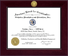 American Board for Certification in Orthotics, Prosthetics & Pedorthics Certificate Frame - Century Gold Engraved Certificate Frame in Cordova