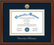 University of Delaware Diploma Frame - Gold Engraved Medallion Diploma Frame in Austin