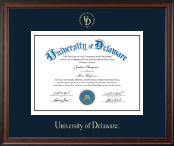 University of Delaware Diploma Frame - Gold Embossed Diploma Frame in Studio