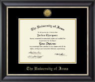 The University of Iowa Diploma Frame - Gold Engraved Medallion Diploma Frame in Noir