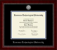 Lawrence Technological University Diploma Frame - Silver Engraved Medallion Diploma Frame in Sutton