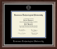 Lawrence Technological University Diploma Frame - Silver Embossed Diploma Frame in Devonshire