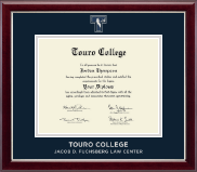 Touro College Law Diploma Frame - Masterpiece Medallion Diploma Frame in Gallery Silver