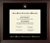 Saint Mary's University of Minnesota Diploma Frame - Gold Embossed Diploma Frame in Studio