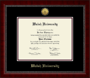 Walsh University Diploma Frame - Gold Engraved Medallion Diploma Frame in Sutton