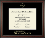 University of Western States Diploma Frame - Gold Embossed Diploma Frame in Studio
