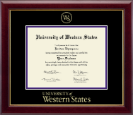 University of Western States Diploma Frame - Gold Embossed Diploma Frame in Gallery
