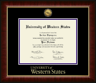 University of Western States Diploma Frame - Gold Engraved Medallion Diploma Frame in Murano