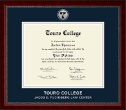 Touro College Law Diploma Frame - Silver Engraved Medallion Diploma Frame in Sutton