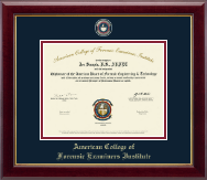 American College of Forensic Examiners Institute Diploma Frame - Masterpiece Medallion Diploma Frame in Gallery