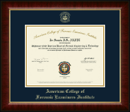 American College of Forensic Examiners Institute Certificate Frame - Gold Embossed Certificate Frame in Murano
