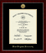 West Virginia University Diploma Frame - Gold Engraved Medallion Diploma Frame in Sutton