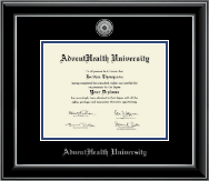 AdventHealth University Diploma Frame - Silver Engraved Medallion Diploma Frame in Onyx Silver