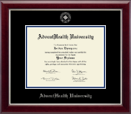 AdventHealth University Diploma Frame - Silver Embossed Diploma Frame in Gallery Silver