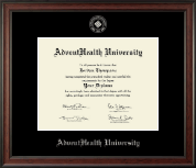 AdventHealth University Diploma Frame - Silver Embossed Diploma Frame in Studio
