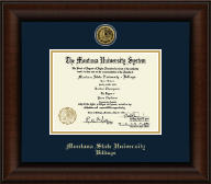 Montana State University Billings Diploma Frame - Gold Engraved Medallion Diploma Frame in Lenox