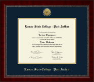 Lamar State College - Port Arthur Diploma Frame - Gold Engraved Medallion Diploma Frame in Sutton