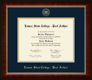 Lamar State College - Port Arthur Diploma Frame - Gold Embossed Diploma Frame in Murano