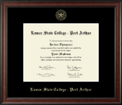 Lamar State College - Port Arthur Diploma Frame - Gold Embossed Diploma Frame in Studio