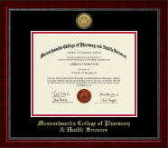 Massachusetts College of Pharmacy & Health Sciences Diploma Frame - Gold Engraved Medallion Diploma Frame in Sutton