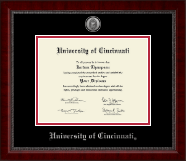 University of Cincinnati Diploma Frame - Silver Engraved Medallion Diploma Frame in Sutton