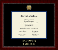 Hartwick College Diploma Frame - Gold Engraved Medallion Diploma Frame in Sutton