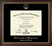 University of Wisconsin Stevens Point Diploma Frame - Gold Embossed Diploma Frame in Studio Gold