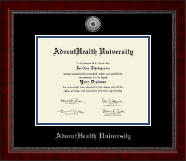 AdventHealth University Diploma Frame - Silver Engraved Medallion Diploma Frame in Sutton