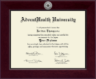 AdventHealth University Diploma Frame - Century Silver Engraved Diploma Frame in Cordova