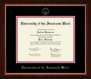 University of the Incarnate Word Diploma Frame - Gold Embossed Diploma Frame in Murano