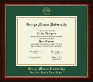 George Mason University Antonin Scalia Law School Diploma Frame - Gold Embossed Diploma Frame in Murano
