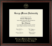 George Mason University Antonin Scalia Law School Diploma Frame - Gold Embossed Diploma Frame in Studio