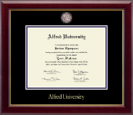 Alfred University Diploma Frame - Masterpiece Medallion Diploma Frame in Gallery