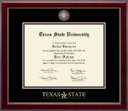Texas State University Diploma Frame - Masterpiece Medallion Diploma Frame in Gallery