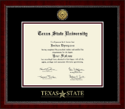 Texas State University Diploma Frame - Gold Engraved Medallion Diploma Frame in Sutton