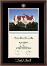 Texas State University Diploma Frame - Campus Scene Masterpiece Diploma Frame in Chateau