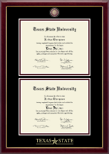 Texas State University Diploma Frame - Masterpiece Medallion Double Diploma Frame in Gallery