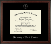 University of North Florida Diploma Frame - Silver Embossed Diploma Frame in Studio