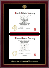 Milwaukee School of Engineering Diploma Frame - Gold Engraved Double Diploma Frame in Gallery