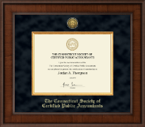 Connecticut Society of Certified Public Accountants Certificate Frame - Presidential Gold Engraved Certificate Frame in Madison