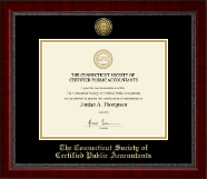 Connecticut Society of Certified Public Accountants Certificate Frame - Gold Engraved Medallion Certificate Frame in Sutton