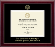 Connecticut Society of Certified Public Accountants Certificate Frame - Gold Embossed Certificate Frame in Gallery