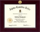 Alpha Lambda Delta Certificate Frame - Century Gold Engraved Certificate Frame in Cordova