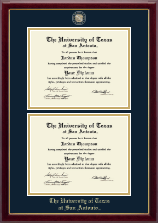 The University of Texas San Antonio Diploma Frame - Masterpiece Medallion Double Diploma Frame in Gallery