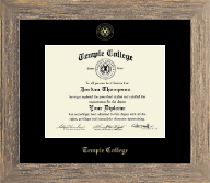 Temple College Diploma Frame - Gold Embossed Diploma Frame in Barnwood Gray
