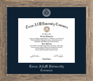 Texas A&M University - Commerce Diploma Frame - Silver Embossed Diploma Frame in Barnwood Gray