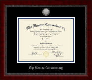 The Boston Conservatory at Berklee Diploma Frame - Silver Engraved Medallion Diploma Frame in Sutton